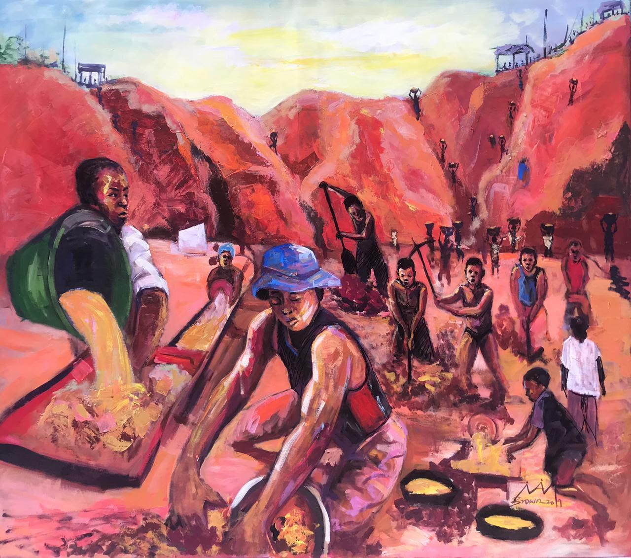 Painting for Gulf News by Brown Dike Ojoba aka Kingbrown